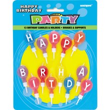 Round Letter Happy Birthday Candles with Holders, 13ct