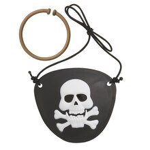 Eye Patch and Gold Earring Pirate Accessory Set, 2ct