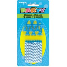 Striped Blue Birthday Candles with Holders, 30pc