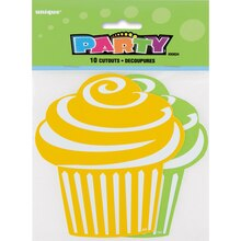 Paper Cut Out Green and Yellow Cupcake Decorations, 10ct