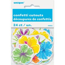 Paper Confetti Cut Out Hibiscus Luau Decorations, 24ct, Package