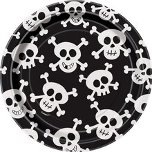 "7"" Skull and Crossbones Party Dessert Plates, 8ct"