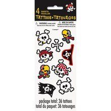 Pirate Party Tattoo Sheets, 4ct