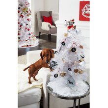 Puppy Mini White Christmas Tree, medium