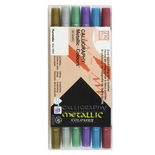 Zig Memory Systems Dual-Tipped Calligraphy Markers, Metallics