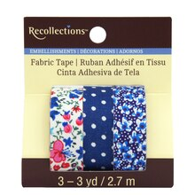Blue Floral Fabric Tape by Recollections
