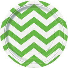 "7"" Lime Green Chevron Dessert Plates, 8ct"
