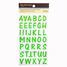 green epoxy alphabet stickers by recollections