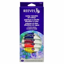 Reeves Water Mixable Oil Color 12 Tube Set, 10ml