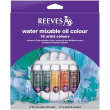 Reeves Water Mixable Oil Color 18 Tube Set, 10ml