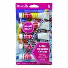 Reeves Gouache 5 Tube Set with Brush
