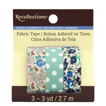 Mint & Blue Floral Fabric Tape by Recollections