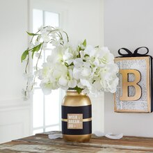 Metallic Mason Jar Floral Centerpiece, medium