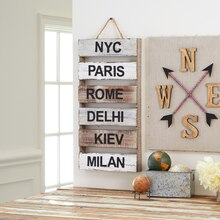 World Travel Cities Wood Pallet, medium