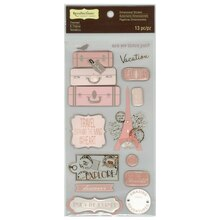 Signature Pink Paris Vacation Dimensional Stickers by Recollections