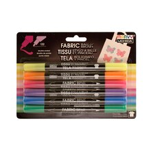 Marvy Uchida Ball & Brush Fabric Marker Set, Fluorescent