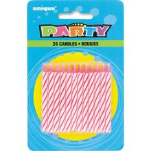 Striped Pink Birthday Candles, 24ct