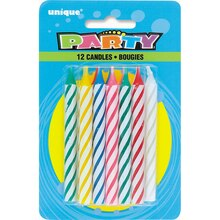 Striped Birthday Candles, Assorted 12ct