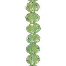 Darice 8mm Crystal Rondelle Beads, Emerald AB