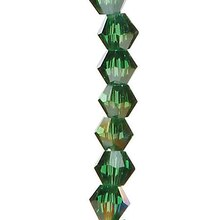 Darice 4mm Venezia Crystal Bicone Beads, Emerald AB