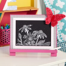 Butterfly Embellished Pink Easel Chalkboard, medium