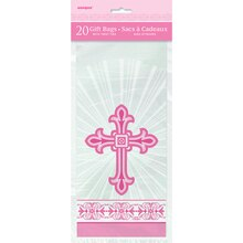 Radiant Pink Cross Religious Cellophane Bags, 20ct