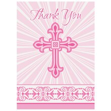 Radiant Pink Cross Religious Thank You Cards, 8ct