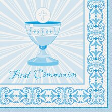 Radiant Blue Cross First Communion Luncheon Napkins, 16ct