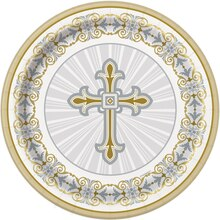 "7"" Radiant Gold and Silver Cross Religious Party Plates, 8ct"