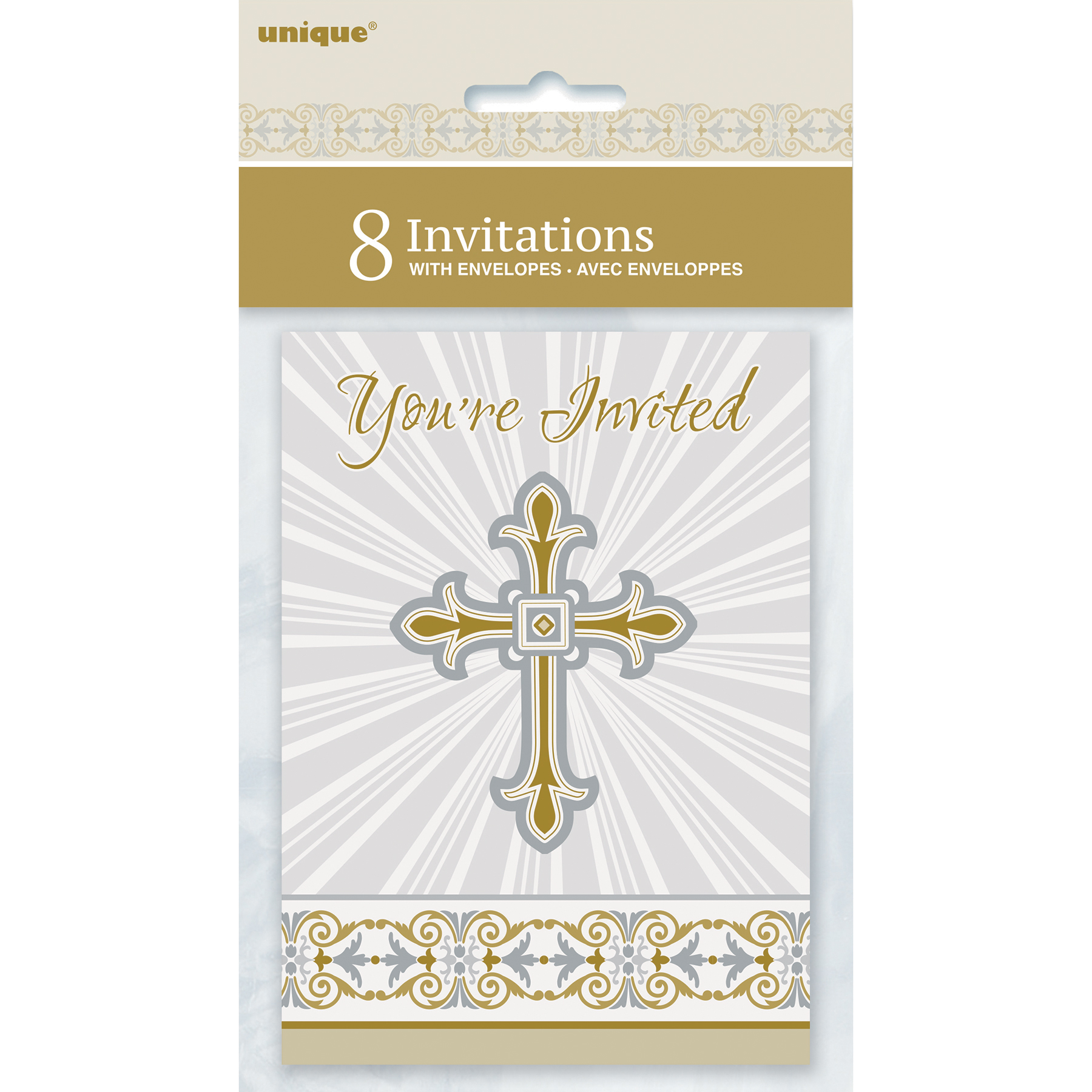 Radiant Gold and Silver Cross Religious Invitations First