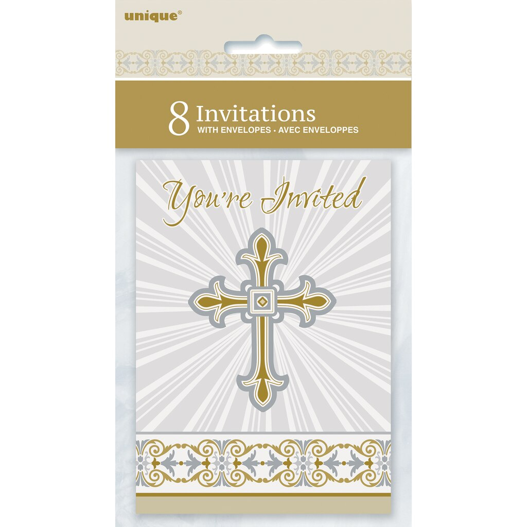 radiant gold and silver cross religious invitations
