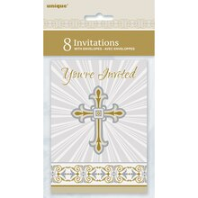 Radiant Gold and Silver Cross Religious Invitations, 8ct