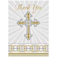 Radiant Gold and Silver Cross Religious Thank You Cards, 8ct