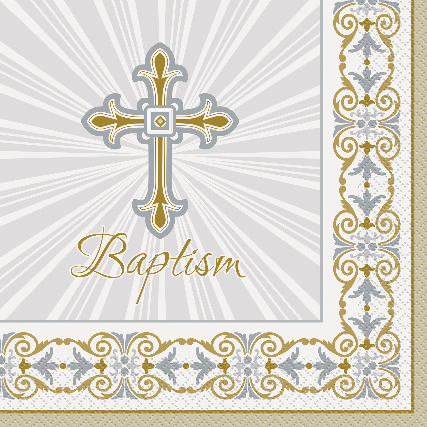 Radiant Gold and Silver Cross Baptism Luncheon Napkins 16ct  sc 1 st  Michaels Stores & Radiant Gold and Silver Cross Baptism Napkins | Baptism Napkins and ...