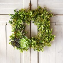 Succulent Boxwood Greenery Wreath Base, medium