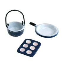 Sparrow Innovations Miniatures Enamelware Cookware, Blue