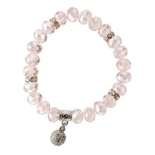 Darice Crystal Bracelet with Rhinestone Ball, Pink