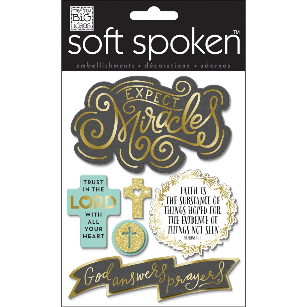 MAMBI Soft Spoken Embellishment Stickers, Expect Miracles