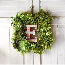 Boho Letter Boxwood Greenery Wreath, medium