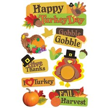 Paper House 3D Stickers, Happy Turkey Day