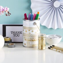 Paper Craft It™ White/Gold Washi Tape-Embellished Pail, medium