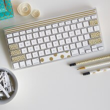 Paper Craft It™ White/Gold Washi Tape Keyboard, medium