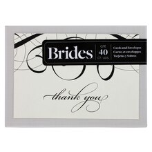 Brides Calligraphy Thank You Cards, Ivory & Black, Box