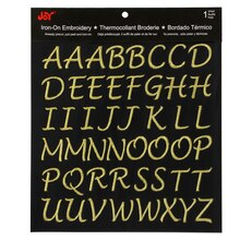 Joy Iron-On Embroidery Script Letter Sheet, Gold