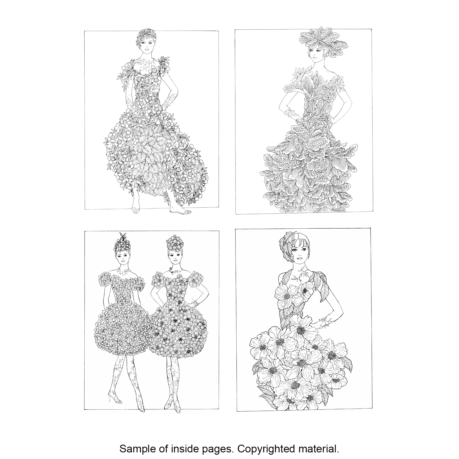 Creative Haven® Flower Fashion Fantasies Coloring Book