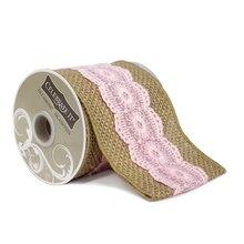"Wired Burlap & Pink Lace Ribbon by Celebrate It Occasions, 3.5"" x 3yd."