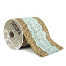 "Wired Burlap & Blue Lace Ribbon by Celebrate It Occasions, 3.5"" x 3yd."