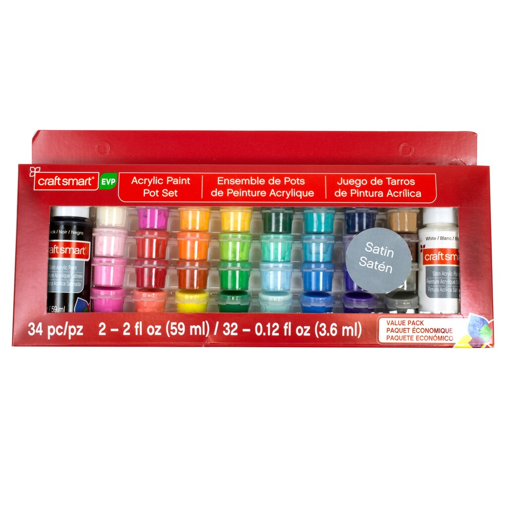 Find the Satin Acrylic Paint Pot Value Pack by Craft Smart® at Michaels