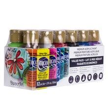 Americana Premium Acrylic Paint Value Pack, 12 Pack