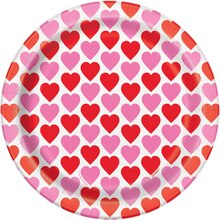 "7"" Hearts Happy Valentine Party Plates, 8ct, medium"